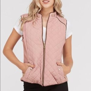 NWOT Love Tree Puffer Vest In Dusty Pink
